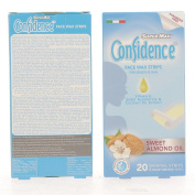SUPERMAX CONFIDENCE FACE WAX STRIPS (SENSITIVE SKIN) WITH MOISTURISING WIPES - SWEET ALMOND OIL - 20