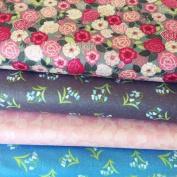 WILDFLOWERS FABRIC BUNDLE - LEWFB068 - 4 Fat Quarters each 55 cm x 50 cm - By Lewis & Irene - 100% Cotton