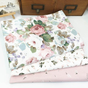 3Pc Flowers Floral Fabric ,Assorted Pattern Floral Cotton Fabric Cloth For DIY Crafts Sewing 50*40cm