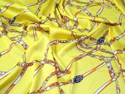 Novelty Print Polyester Satin Dress Fabric Yellow - per metre