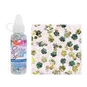Glorex Glitter Glue Bottle 53ml Confetti Glitter Clover Green/Yellow, 2.5 x 2.5 x 10.8 cm