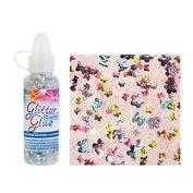 Glorex Glitter Glue Bottle 53ml Confetti Glitter Butterfly Multicolour 2.5 x 2.5 x 10.8 cm