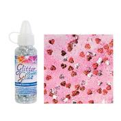 Glorex Glitter Glue Bottle 53ml Confetti Glitter, Red/Silver, 2.5 x 2.5 x 10.8 cm