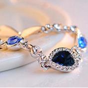 Women Ocean Blue Crystal Rhinestone Heart Bangle Bracelet Gift New Fashion