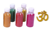 Buycrafty Pack of 5 More Quantity-Easy to Store Glitter Rangoli Colours.Real Rangoli Colours ( NO GULAL). Festival/Festive Vibrant Colours for Diwali, Rangoli Decoration. Diwali Gift. 90g Approx per Bottle with Golden Om