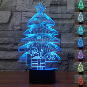 Decorative Lights 3D Illusion Night Lights Christmas Tree Effect 7 Colours Switch Automatically by Smart Touch Button Ideal Gift and Perfect Indoor Lamp
