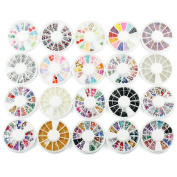 20pcs 3D Nail Art Decorations Rhinestone Mix Nail Glitter Rhinestones Glitter Wheel
