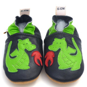 Galipatte Baby Booties Leather Dragon Boy 12 to 18 months Green