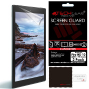 [2 Pack] TECHGEAR® All-New Amazon Fire HD 10 with Alexa (7th Gen / 2017 Release) CLEAR LCD Screen Protectors With Cleaning Cloth + Application Card