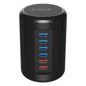 ORICO 36W 4-Port USB 3.0 Hub plus 2 x 2.4A Fast Charging Ports with Power Adapter for Smart Phones, Tablets and More