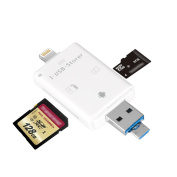 aceyoon Lightning to SD Reader 3 in 1 iPhone Memory Stick with Micro USB & USB-A Connector SD / Micro SDXC SDHC External Card Adapter for 32 / 64 / 128 GB iPad iPhone 8 / 7 / 7 Plus / 6 / 6 Plus