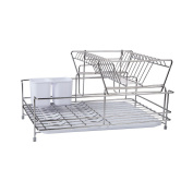 SHELVES Stainless Steel Dish Rack 2 Layer Kitchen Tableware Storage Rack, Size 46 * 30.5 * 24.5cm