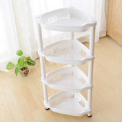 stable Shelf, Ivory white Four layers Landing Angle frame Kitchen and toilet plastic Simple and elegant