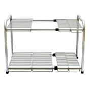 2 Tier Stainless Steel Under Sink Adjustable Expandable Kitchen Storage Rack Tidy Shelf Organiser