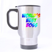 Top Funny World's best boss Theme - 100% Stainless Steel Material Travel Mugs - 410ml sizes