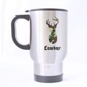 Funny Boy Mug - Funny Novetly Army Camouflage Deer Head Cowboy Travel Tea Cup - 410ml