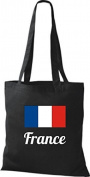Shirt in Style Cloth Bag Cotton Bag länderjute France France - Black, 38 cm x 42 cm