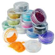 Bluelover 12 Colours Acrylic Nail Art Tips Glitter Powder Dust