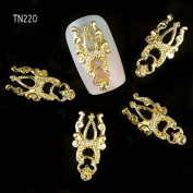Bluelover 10 Pcs Gold Silver 3D Luxury Alloy Hollow Out Nail Art Decoration TN220