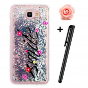 Samsung Galaxy J7 Prime Glitter Case,TOYYM Transparent Clear Floating Sparkle Bling Glitter Case for Samsung Galaxy J7 Prime,3D Creative Funny Cute Moving Love Hearts Star Smile Design Tpu Protective Shell Case Cover for Samsung Galaxy J7 Prime