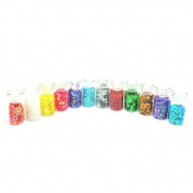 creafirm – 12 Mini Glass Vials with Rhinestones and Glitter.
