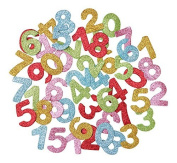 KRAFTZ® Glitter Foam Eva Numbers Stickers, Self Adhesive in Assorted Sizes And Colours For Kids Art & Craft, Decorating Cards and Models