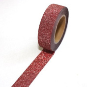 Red Glitter / Washi Tape 5m Roll, 15mm Wide, Sticky Backed, Self Adhesive, Gift Wrapping, Crafts
