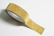 Gold Glitter / Washi Tape 5m Roll, 15mm Wide, Sticky Backed, Self Adhesive, Gift Wrapping, Crafts