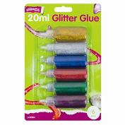 RAGE ACCESSORIES 6 X Glitter Glue 20ml Premium Arts Crafts Kids Card Making Scrap Books Decoupage