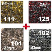 4 x 250 Hotfix Rhinestones Ø3mm, 4 Colours, No. 101 Crystal + n°102 Black + n°111 Lemon + n°125 Red
