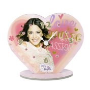 CAR Bomboniere WD Violetta Cheerful Clock in Ecological Cardboard and Glitter, Depicting Violetta Disney, Height 17 cm, Multi-Coloured