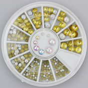 200pc Rhinestone 3D Nail Art - Round Multi Sized Pearls