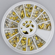 200pc Rhinestone 3D Nail Art - Round Gold Multi Shapes