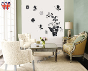 Sticker, Beautiful Floral Stickers with Textured Glitter, Rhinestones & Removable sticker, Perfect for Home/office Decoration - S001
