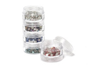 Storage set for rhinestones, beads and chatons | 5 times sorting jars 10.5cm x 3.9cm, 1 Pieces