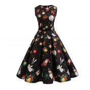 Christmas Dress, Quistal Women's Santa Christmas Printing Sleeveless Dress Party Swing Dress