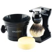 4in1 Shaving Set, Anbbas Silvertip Badger Shaving Brush Black Resin & Alloy Handle and 100g Shaving Soap Goat Milk,Acrylic Broken-resistant Shaving Stand,Dia 10cm Resin Shaving Mug Kit for Men Wet Shave