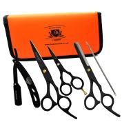BeautyTrack - Right Handed Giftset Hairdressing & Hair Thinning Scissors Barber Salon Shears, Hair Scissor + Safety Razor - Metal Hair Pin - Scissors Pouch, Complete Hairdresser College Kit + Case