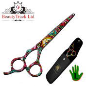 BeautyTrack 18cm Left Handed Hairdressing Scissors Barber Salon Shears + Scissors Pouch, Limited Edition. Beautiful Design Ideal for Gift