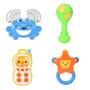 Sound Toys, Bestow 4PC Baby Rattles Teether Ball Shaker Grab And Spin Rattle Musical Toy Gift
