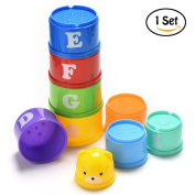 Waterstone Stacking Cups, Educational Bath Toy for Babies and Toddlers, Random Colour