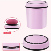 Z & HAOSmart Trash Can Simple European Household Dustbin Paint Stainless Steel Pink 9L
