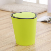 The Creative Heart-Shaped Toilet Covered Household Kitchen Office Basket With Cover Large Rubbish Bins, Green