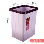 Plastic Home Kitchen Living Room Bathroom Hotel Health And Square Office Basket, 10 Litres Of Light Purple
