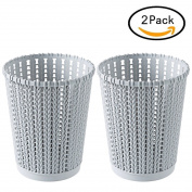 LoKauf 2Pcs Hollowed-out Waste Bin Imitated Rattan Weaving Trash Can Household Plastic Waste-paper Basket Rubbish Bin - S