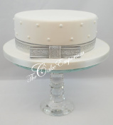 Cake Topper Christmas or Celebration Cake Ribbon 1 Metre & Matching Bow Silver Glitter Organza