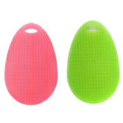 HKFV Superb Useful Design Cleaning Silicone Dish Washing Sponge Scrubber Kitchen Cleaning antibacterial Tool Amazing Creative Design Superb Convenienece Using Help Clean Hard Dirty