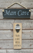 Wall mounted bottle opener, with Man Cave wooden sign