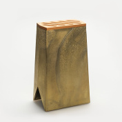 Futagami Kitchen Knife Block Holder - Solid Brass Stand with 5 Quick-dry Slots