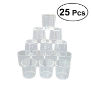 ROSENICE Measuring Cup 25Pcs 60ml Plastic Kitchen Cups Baking Cooking Tool Digital Measuring Cup